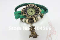 Cheap Vintage Ladies Watch Owl Pendant Item Bead Bracelet Watches Retro Braided Leather Strap Watch 2014 new 1000pcs DHL free shipping