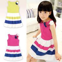 Wholesale 10pcs DHL Girls Splicing Striped dress Stereo Flower New Cotton Stripe Vest Baby Kids Frozen Dresses Rose Cheap KR01