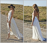 Cheap Sexy vestido de noiva sereia 2014 Boho Beach Wedding Dresses Bridal Gowns Spaghetti Straps Sexy Backless Floor Length Top Lace and Chiffon