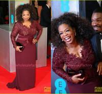 Wholesale Plus Size Mother of the Bride Dresses V Neck Long Sleeve Appliques Lace Sheath Oprah Winfrey Celebrity Red Carpet Evening Gowns BO6383