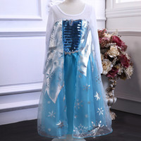 Girl Summer Leather Wholesale - new Frozen Christmas Princess Elsa anna long Sleeve Children Baby Girl party Birthday lace printed Tutu Dresses LY-602