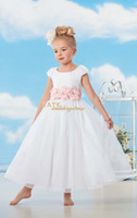 Wholesale 2014 Newest Crew A line Organza Handmade Flower Ankle Length Flower Girl Dresses Birthday Party Formal Kids Wear