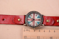 Wholesale Vintage Dress Watches for Men Women UK Flag Leather Bronze Watch New Arrival