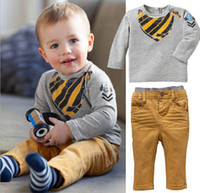 Wholesale Children s Casual Set Long Sleeve Bib Printed Pure Cotton Gray Tshirts Corduroy Trousers Pants Camel Set Baby Boys Infants Suits J1355