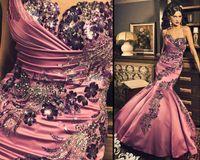 prom dresses 2012 - 2012 New Sexy Sweetheart Prom Dresses Beading Mermaid Ruffles Pink Satin Evening Dresses