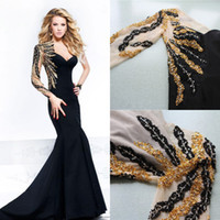 Reference Images One-Shoulder Satin SSJ 2014 Real-image Prom Dresses One Shoulder Sequins Beaded Long Sleeves Sheer Tarik Ediz Evening Gowns Mermaid Cheap Formal Dress 92367