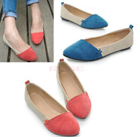 ballet flats - New Women Girl Casual Comfort Ballet Patchwork Low Heels Flat Loafers Shoes Color
