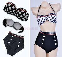 vintage swimwear - New Fashion Retro Swimsuit Swimwear Pin Up High Waist Cutest Vintage S M L XL Bikini Set SV000185