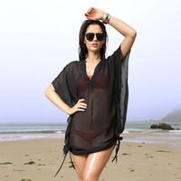 Wholesale Hot Women Sexy Black Chiffon Beach Cover Ups Summer Bikini Cover Ups Mesh Sheer Fpr Ladies SV000485