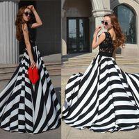 Wholesale Elegant Lady Evening Lace Stripe Long Maxi Sleeveless Dress Party Sweep Train Beach Floor Lenghth Dress SV004361