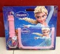 Wholesale 10pcs Frozen Anna Elsa Sets Watch and Wallet in Purse Kids Fashion Quartz Cartoon Candy Lovely Boy Girl Children Watch