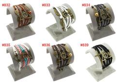 Wholesale 30pcs New Infinity Leather Bracelet Antique Cross Anchor Love Peach Heart Owl Bird Believe Pearl Knitting Bronze Charm Bracelets