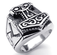 cheap price jewelry - No MOQ Big L Stainless Steel Hammer of Thor Rings from Egypt Mythology Jewelry in Cheap Factory Price with US Size from to