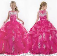Wholesale Coral Ball Gown Girl s Pageant Dresses Crystal Spaghetti Cadcading Ruffles Round Back Ritzee Organza Girl s Pageant Dresse