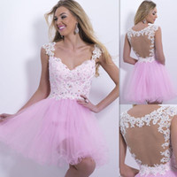 Wholesale 2014 custom made modest pink tulle with white lace v neck backless homecoming dresses high quality short mini prom party dresses