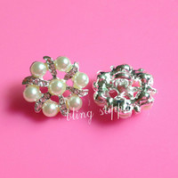 Cheap Free shipping 20mm elegant pearl rhinestone button embellishment with shank for hair bow center 100PCS LOT(BTN-5381)