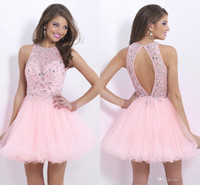 short tulle prom dress - 2015 fashion new design pink sheer tulle beads sequins backless A line short party homecoming prom dresses custom made crew cheap hot sale