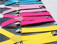 Wholesale Clip on Adjustable Braces Candy Unisex Pants Y back elastic Suspender Braces