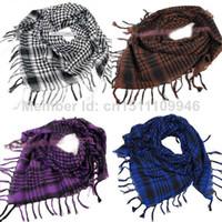arab neck scarf - Unisex Women Men Checkered Arab Shemagh Grid Neck Keffiyeh Palestine Scarf Wrap
