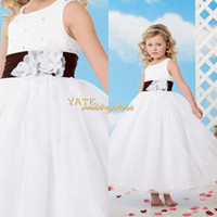 Wholesale 2014 Crew A line Organza Applique Waistband Ankle Length Flower Girls Dresses Wedding Birthday Party Kids Wear