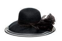 Wholesale New Arrival Fashion Cheap Black Flower Wide Brim Beach Hats Womens Ladies Paper Straw Hats Sun Hat Shop China Summer Cap Caps