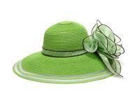 flower paper straws - Green Flower Wide Brim Sun Hats Woman Kentucky Derby Wedding Church Party Summer Beach Hat Fashion Street Cap Caps
