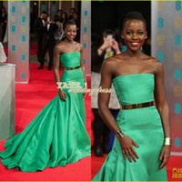 Wholesale Selling Gowns Online - Hot Online Selling ! Lupita Nyong'o 2014 Baftas Red Carpet Strapless Mermaid Stunning Celebrity Dresses Custom Made Evening Gowns