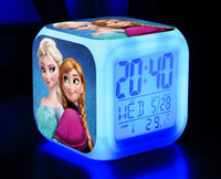 Wholesale EMS New Arrival Customization Frozen Elsa Anna Clocks Cartoon Change Colorful Children Girls Boys High Quality LED Alarm Clock E0246