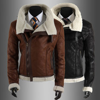 Wholesale 1350 New HOT High quality Fashion Men s Slim Oblique zipper Fur collar PU Leather Faux Leather motorcycle Jackets Coat Outerwear