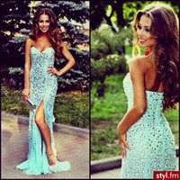 Reference Images Sweetheart Chiffon Gorgeous Sweetheart Strapless Prom Dresses Sexy Sheath Backless Mint Chiffon Front Slip Crystals Long Mermaid Evening Dresses For Prom Dress