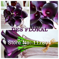Wholesale Decorative flowers pieces and have colors Real touch Dark Purple Mini Calla Lily Bouquet artificial flowers