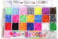 Cheap 1set (4200pcs) rubber loom band kit children DIY bracelet gift with glow in dark loom band free shipping