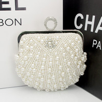 Wholesale Full Hand Beaded Evening Bag Pearls Diamond Mini Women Handbags Bridal Clutch Purse Wedding Party Colors Chain Sac a Main New