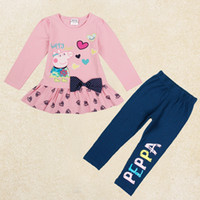 Cheap nova new arrival 2014 girls winter set cartoon peppa pig set kids clothing sets 2pcs set cotton knit t-shirt + navy pants leggings FG5242
