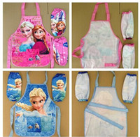 apron sets - Frozen ELSA ANNA Printe Kids Childrens Cartoon Cooking Art Painting Smock Apron Set Sleeveless Aprons Oversleeves Pink BLUE
