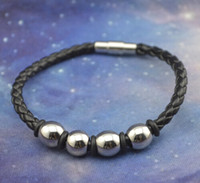 stainless steel buckle - Retail Fashion Black Braided Leather Stainless Steel Bracelet with Steel Solid Balls and Fastener Buckle from Biggest Jewelry Wholesaler