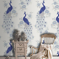 Wholesale High Quality Colors Southeast Asia Style Wallpaper Peacock Wall paper Rolls For Living Room Bedroom TV Background Wall Decor