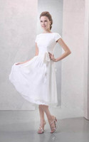Wholesale New Design Simple Real Picture Mordern A line Tea Length Zipper Sash Chiffon Bridesmaid Dresses