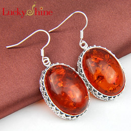 Wholesale Luckyshine Two pieces silver plated Fashion forward oval round Amber crystal earrings for lady party gift E172