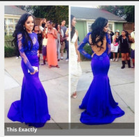 Cheap Wow! Fantastic Design Sheer Long Sleeve Evening Dresses Royal Blue Color Appliques Crew Neck Court Train Sexy Backless Mermaid Prom Dresses