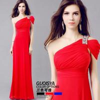Cheap Hot Selling,Free Shipping,Occident Elegant Royal Greek Goddess Evening Dress,Diamond Party Dress,One-Shoulder Dress,3 Colors