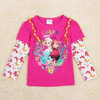 top brand t-shirts - nova kids brand children clothes frozen girls t shirts elsa anna printed sleeve fuchsia color tops shirt F5365Y