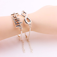 Charm Bracelets faith bracelet - Charm Bracelet For Women Men Plated Gold Silver Infinity Love Heart Faith Bracelets Jewelry