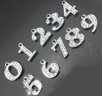 Wholesale rhinestone number hang charm DIY pendant accessories