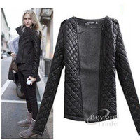 Cheap 2014 Hot Warm And Soft Women Autumn Cutton Jacket Fashion Black Argyle O-neck Thick Femme Manteau With Zipper