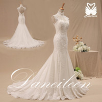 Cheap Real Sexy Backless Grecian Style Mermaid High Neck Open Back Vintage Lace Wedding Dress 2014