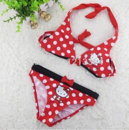 Free Shipping 2016 Brand New Girls Kitty Sexy Bikini Suit Children Swimsuit Suit Two Pieces 1-6 Age