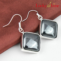 Cheap Luckyshine Christmas Day Two pieces lot 925 silver plated Square Unique charm Magnetic hematite crystal earrings for lady party gift E140