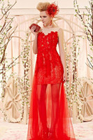 Wholesale Chic Red Applique Cocktail Dresses Tulle Overlay Sleeveless Indian Prom Dress