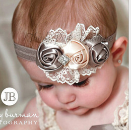 Wholesale Baby girl rose flower diamond rhinestone lace headbands children elastic hair band bows party Christmas hair jewelry Photography props gifts